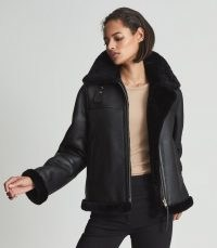 REISS MACEY REVERSIBLE SHEARLING AVIATOR JACKET BLACK ~ womens responsibly sourced leather jackets ~ women's luxe winter outerwear