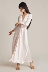 GHOST MADISON DRESS in Light Pink ~ feminine vintage style satin dresses