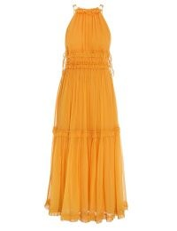 Olivia Palermo ZIMMERMANN MAE TIERED FRILL LONG DRESS in Mango, at Sam Edelman event, August 2021 | celebrity dresses | star style fashion