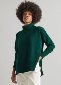 L.K. Bennett MARISOL GREEN WOOL-CASHMERE ROLL NECK JUMPER   relaxed fit high neck side slit jumpers   womens fashionable knitwear   autumn and winter colours