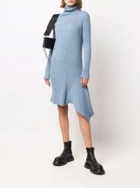 Marques'Almeida asymmetric knitted dress light blue ~ high neck sweater dresses ~ chic jumper dresses ~ womens contemporary knitwear