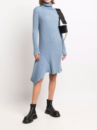 Marques'Almeida asymmetric knitted dress light blue ~ high neck sweater dresses ~ chic jumper dresses ~ womens contemporary knitwear - flipped