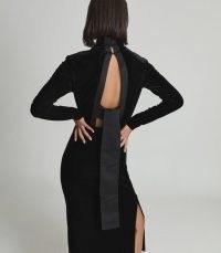 REISS MARTHA HIGH NECK VELVET DRESS BLACK ~ elegant cut out back LBD ~ open tie back occasion dresses
