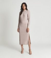 REISS MARTHA OPEN BACK MIDI DRESS NUDE ~ elegant and chic high neck evening dresses ~ special occasion event fashion
