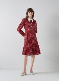 L.K. BENNETT MATHILDE BORDEAUX AND CREAM POLKA DOT SILK TEA DRESS / red spot print vintage style dresses