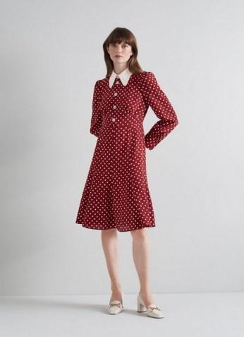 L.K. BENNETT MATHILDE BORDEAUX AND CREAM POLKA DOT SILK TEA DRESS / red spot print vintage style dresses - flipped