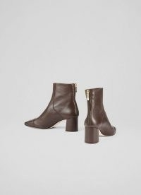 L. K. BENNETT MAXINE BROWN LEATHER STITCH-DETAIL ANKLE BOOTS ~ footwear for a stylish winter wardrobe