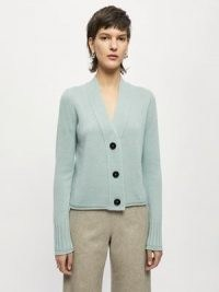 JIGSAW Merino Cashmere Cardigan in Green ~ womens V-neck button front cardigans