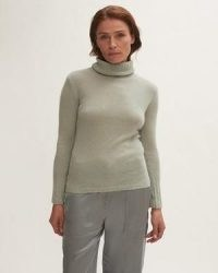 Jigsaw Merino Cashmere Roll Neck in Green   womens luxe high neck jumpers