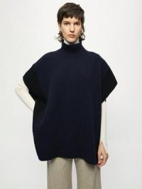 Jigsaw Rib Tabard   womens high neck ribbed knit tabards   women's luxe knitted ponchos