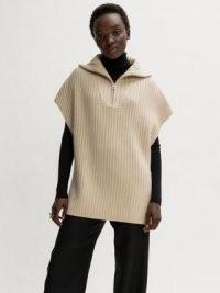 Jigsaw Merino Rib Zip Poncho Cream   neutral knitted ponchos   womens autumn outerwear