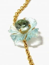 IRENE NEUWIRTH Aquarmarine, beryl & 18kt gold tropical flower necklace / luxe floral necklaces / womens fine jewellery
