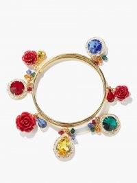 DOLCE & GABBANA Crystal and enamel-rose bracelet / charm embellished bangles / designer floral bracelets