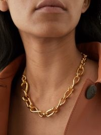 LOEWE Gold-plated sterling-silver chain necklace – womens designer chunky mixed chain necklaces – women's statement jewellery