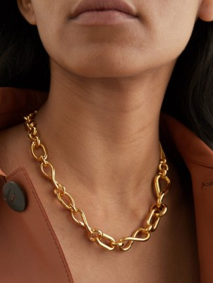 LOEWE Gold-plated sterling-silver chain necklace – womens designer chunky mixed chain necklaces – women's statement jewellery - flipped