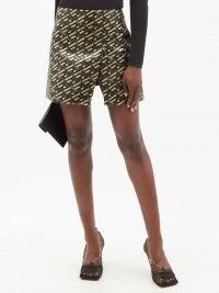 VERSACE La Greca-print slit-front twill skirt ~ split hem logo print skirts