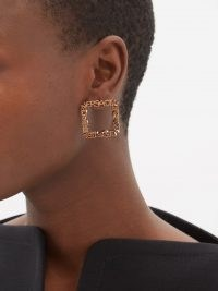 VERSACE Logo square earrings ~ statement designer fashion jewellery