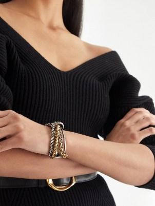 ALEXANDER MCQUEEN Punk chain bracelet – chunky chain embellished cuffs – womens designer bracelets - flipped