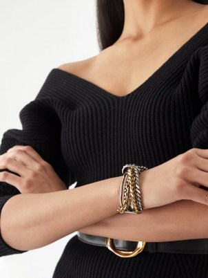 ALEXANDER MCQUEEN Punk chain bracelet – chunky chain embellished cuffs – womens designer bracelets
