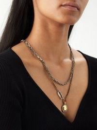 ALEXANDER MCQUEEN Punk pendant-drop chain necklace – double chunky chain designer necklaces – women's fashion statement jewellery