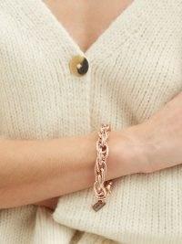 LAUREN RUBINSKI Rope-chain 14kt rose-gold bracelet – womens luxe chunky chain bracelets