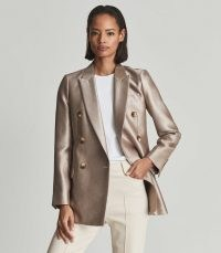 REISS MIMI METALLIC DOUBLE BREASTED BLAZER GOLD – luxe blazers – womens evening occasion jackets