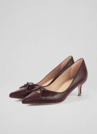 L.K. BENNETT MISSY RED LEATHER BOW-DETAIL COURTS / vintage inspired kitten heel court shoes / autumn and winter colours for womens footwear