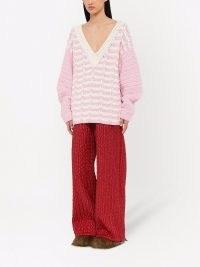 Miu Miu two-tone V-neck jumper petal pink ~ slouchy drop shoulder jumpers with plunging neckline
