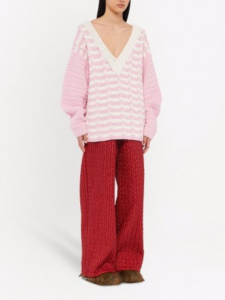 Miu Miu two-tone V-neck jumper petal pink ~ slouchy drop shoulder jumpers with plunging neckline - flipped