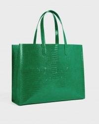 TED BAKER ALLICON Mock crock icon tote bag Emerald / green crocodile effect shopper bags
