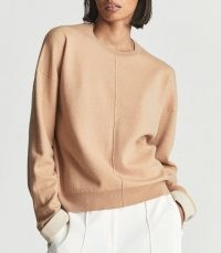 Reiss MOLLY DOUBLE FACED WOOL BLEND JUMPER PEACH   boxy relaxed fit crew neck sweaters   womens casual luxe jumpers   women's chic knitwear