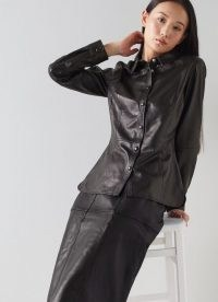 L.K. BENNETT MONMOUTH BLACK LEATHER SHIRT ~ luxe fashion ~ womens fitted style shirts