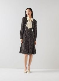 L.K. BENNETT MOORE BLACK WHITE SILK DRESS / long sleeve polka dot print pussy bow dresses / luxe vintage style spot print dresses