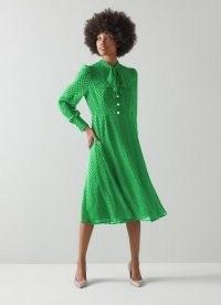 L.K. BENNETT MORTIMER GREEN SILK-BLEND SELF-SPOT DRESS / vintage inspired polka dot dresses
