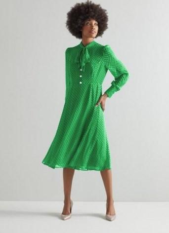 L.K. BENNETT MORTIMER GREEN SILK-BLEND SELF-SPOT DRESS / vintage inspired polka dot dresses - flipped
