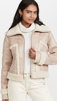 MOTHER The Patch Pocket Roamer Jacket in Lucky Penny – faux suede winter jackets ~ womens luxe style faux shearling trimmed outerwear