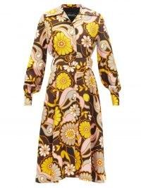 RICHARD QUINN Sun long-sleeve silk-twill shirt dress ~ vintage style spread collar belted dresses ~ womens retro floral print fashion