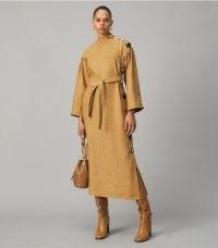 TORY BURCH MULTI-BUTTON LINEN DRESS in Honey Wheat ~ chic contemporary dresses ~ autumn designer fashion