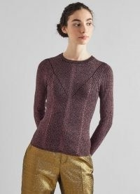 L.K. BENNETT MYRTLE PINK LUREX RIBBED JUMPER ~ metallic thread jumpers