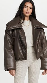 Nanushka Jamie Coat in Shiitake ~ brown faux leather oversized collar jackets ~ womens cropped winter coats ~ women's on trend outerwear