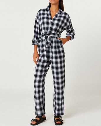 RIVER ISLAND Navy check print tie waist jumpsuit / blue checked cotton jumpsuits - flipped