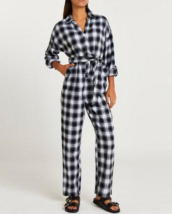 RIVER ISLAND Navy check print tie waist jumpsuit / blue checked cotton jumpsuits