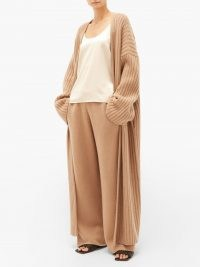 RAEY Belted ribbed-knit cashmere maxi cardigan in camel   womens oversized drop shoulder tie waist cardigans   women's light brown slouchy knits   GOTS Scope-certified clothing   organic knitwear