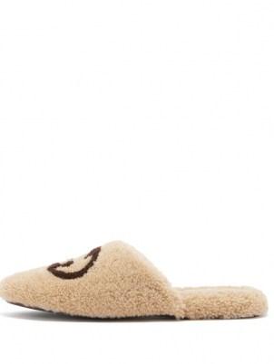 GUCCI Eileen GG cream faux-shearling slippers | womens luxe front logo designer flats | women's fluffy textured flat slipper shoes - flipped