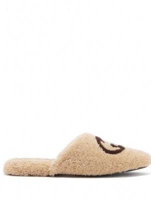 GUCCI Eileen GG cream faux-shearling slippers | womens luxe front logo designer flats | women's fluffy textured flat slipper shoes
