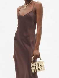 ROSANTICA Holli disc-embellished cage handbag ~ small luxe gold-tone and beige satin top handle bags ~ glamorous evening handbags ~ occasion glamour