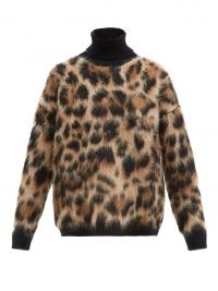 DOLCE & GABBANA Roll-neck leopard-jacquard knit sweater / womens'd fluffy relaxed fit high neck sweaters / animal print knitwear