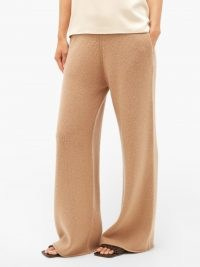 RAEY Wide-leg knitted cashmere trousers in camel ~ luxe light brown relaxed stockinette knit trousers ~ organic loungewear ~ GOTS Scope-certified lounge fashion