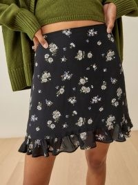 REFORMATION Odell Skirt in Daisy / floral ruffle hem mini skirts