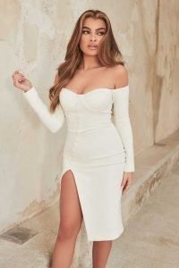 lavish alice off shoulder buttoned midi dress in white – bardot thigh high slit dresses – glamorous going out fashion